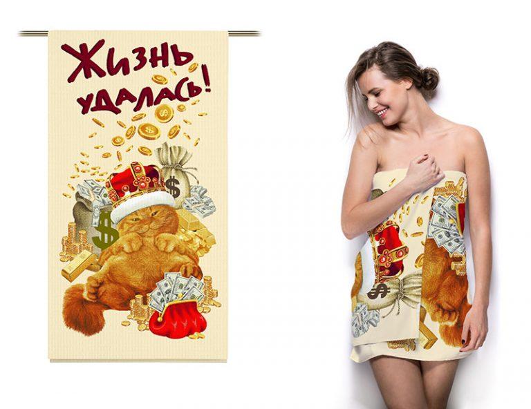 """Полотенце вафельное """"Денежный кот"""""""