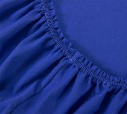 Простынь трикотажная на резинке Синяя
