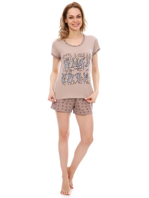 "Пижама женская ""Мышки""(шорты)-цвет серый"